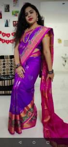 Purple uppada pattu sarees with pochampally border