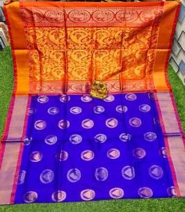 Dark blue uppada pattu sarees with butti