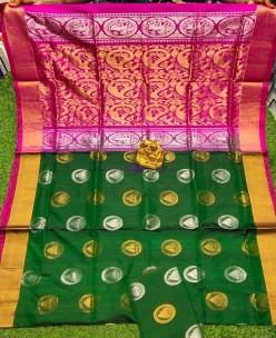 Dark green and pink uppada sarees with butti
