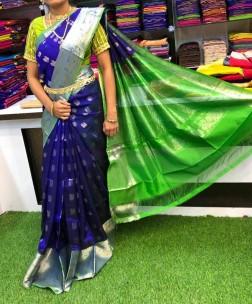 Dark blue with green kuppadam sarees