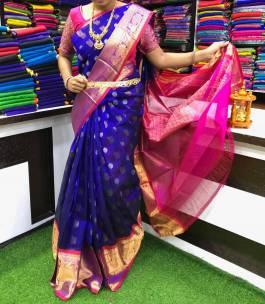 Dark blue with dark pink handloom kuppadam pattu sarees