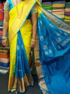 Yellow with light blue uppada langavoni model sarees
