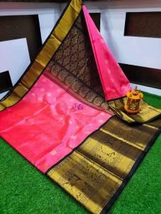 Pink and black kuppadam pattu sarees