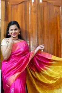Dark pink uppada sarees with butta