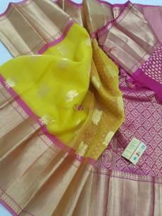 Yellow with pink pure kanchi kora silk sarees