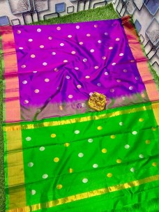 Purple and green uppada sarees with dollar butta