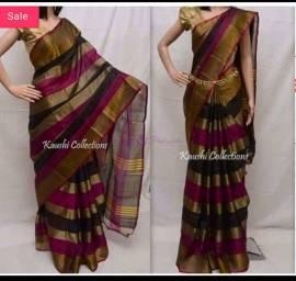 Black and magenta uppada tissue jari lines sarees