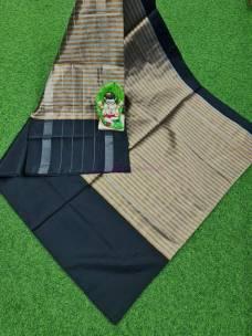Black uppada tissue by cotton sarees