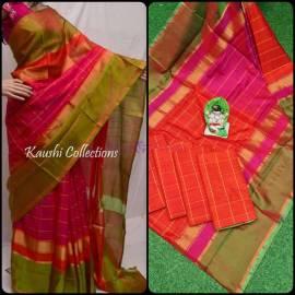 Orange and dark pink uppada Anushka model sarees