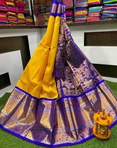 Yellow with dark blue kuppadam pattu sarees