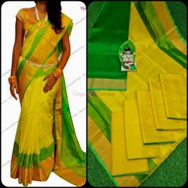 Yellow and light green uppada special border sarees