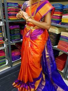 Orange with dark blue uppada sarees with rich pallu