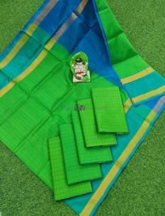 Green and light blue uppada mahanati checks sarees
