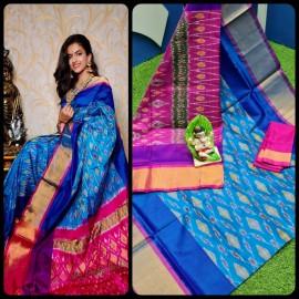 Light blue and pink uppada pochampally design sarees
