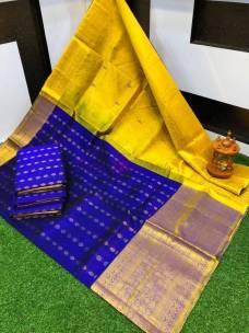 Dark blue and yellow kuppadam pattu sarees