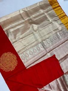 Light gold pure kanchipuram bridal silk sarees