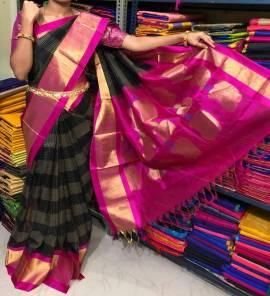 Black and pink kuppadam sarees