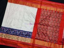 Cream pochampally ikkat silk sarees