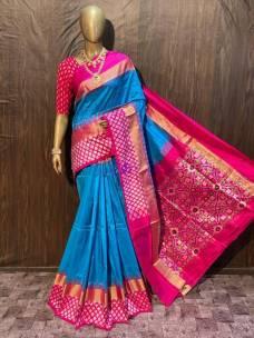 Blue and pink pochampally ikkat silk sarees
