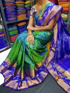 Green with dark blue uppada sarees with butti and pochampally border