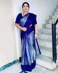 Navy blue uppada tissue silk sarees