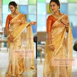 Gold uppada tissue sarees with thin white border
