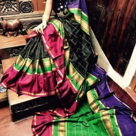 Black colour uppada checks silk sarees