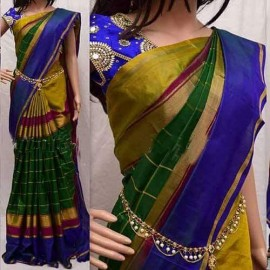 Green color uppada checks silk sarees
