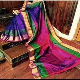 Dark blue with dark magenta uppada special border sarees