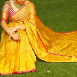 Mango yellow Uppada plain tissue sarees