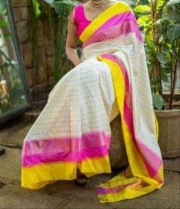 White with yellow and pink pochampally ikkat sarees