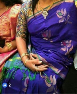 Dark blue and green uppada jamdhani sarees