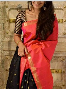 Dark pink and black uppada half and half sarees with butti