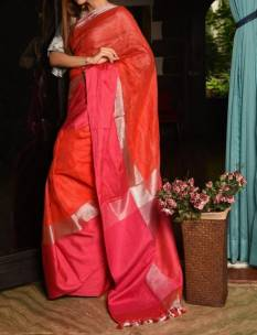 Red linen sarees