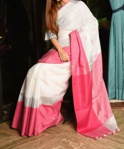 Cream white with pink linen sarees