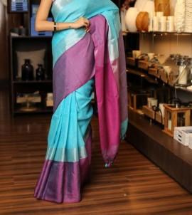 Light blue linen sarees