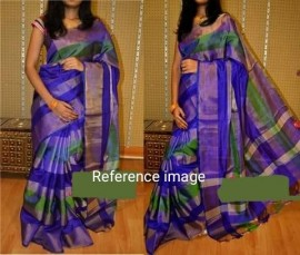 Dark blue with green uppada tissue sarees