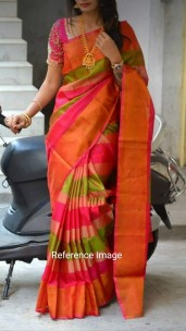 Dark pink with green uppada tissue sarees