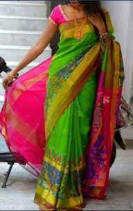 Green with dark pink uppada sarees with pochampally border