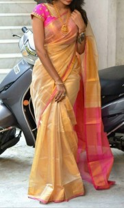 Cream with pink uppada tissue sarees
