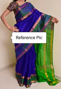 Dark blue with green uppada checks sarees