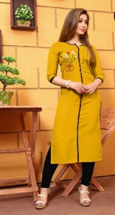 Mustard yellow galaxi cotton kurti