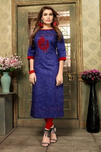 Dark blue kadhi cotton kurtis