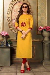 Yellow kadhi cotton kurtis