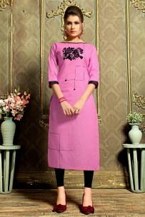 Fuchsia pink kadhi cotton kurtis