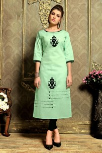 Green kadhi cotton kurtis