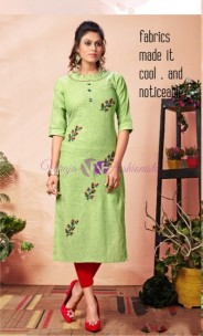 Green pure khadi cotton kurtis