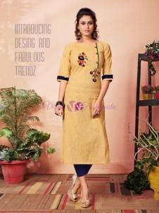 Mustard yellow pure khadi cotton kurtis