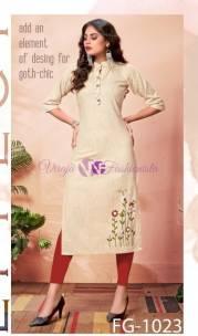 Light sandal pure khadi cotton kurtis