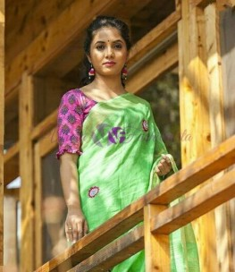 Green embroidered linen by linen saree